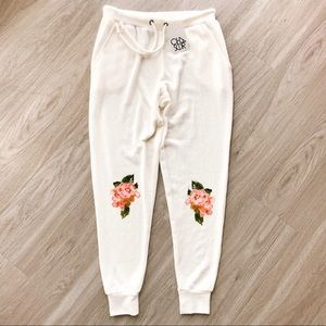 Chaser Garden Floral Cream Joggers